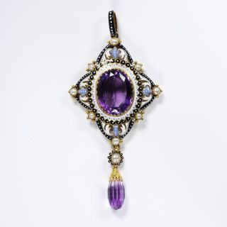 Enamelled gold, amethyst and pearl pendant