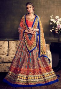 Digital Printed Art Silk Circular Lehenga in Multicolor