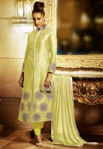 Embroidered Straight Cut Front Slit Art Silk Suit in Light Yellow