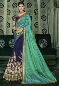 Half N Half Art Silk Saree in Teal Green and Navy Blue