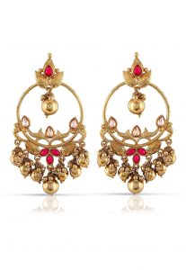 Beaded Earrings in Fuchsia and Golden