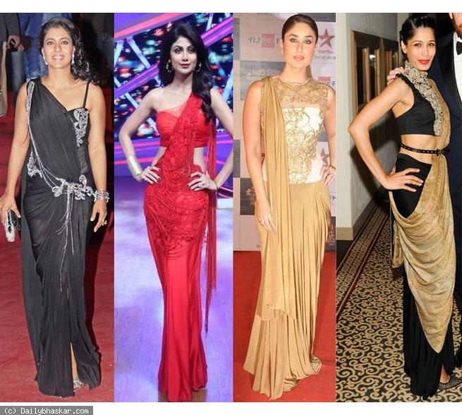 Bollywood Celebs sporting Saree Gowns (Image: Dainik Bhaskar)