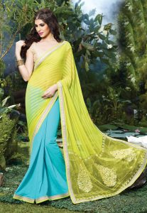 Yellow Georgette Saree With Lace