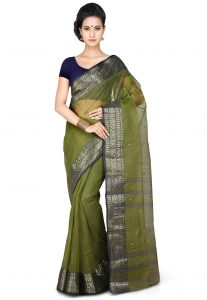 Handloom Tant Cotton Saree in Olive Green