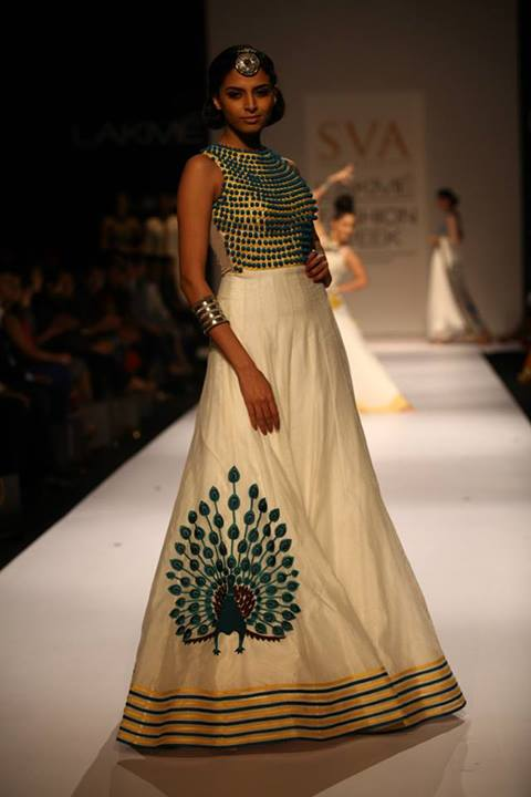 Peacock printed Anarkali by SVA Couture at LFW 2013 (Courtesy: LakmeFashionWeek)