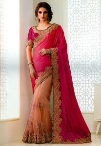 Half N Half Chiffon and Net Saree in Fuchsia and Peach