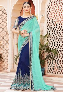 Half N Half Chiffon Saree in Turquoise and Navy Blue