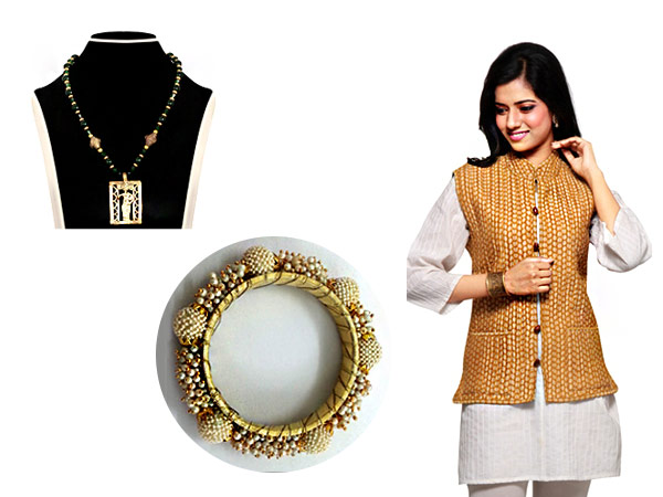 A dash of drama with the Khadi Jacket taking the Kurti a notch higher