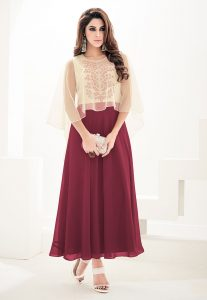 Embroidered Georgette Cape Style Long Dress in Beige and Maroon