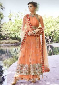 Embroidered Net Anarkali Suit in Peach