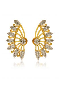 Golden and White American Diamond Studded Ear Cuffs