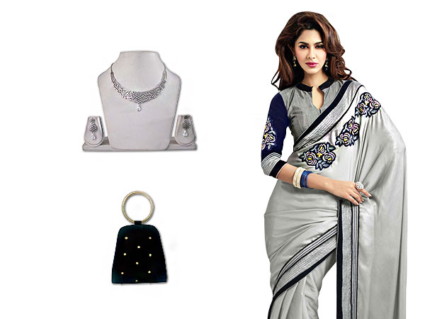 Subtle Glaze of Grey Saree, tuned to glamor with Accessories