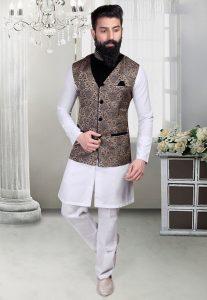 Brocade Nehru Jacket in Blue and Beige