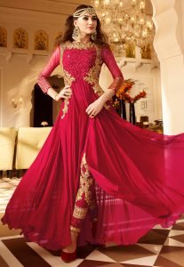 Embroidered Georgette and Net Abaya Style Suit in Red