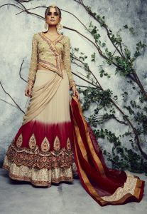 Embroidered Georgette Lehenga in Beige and Maroon