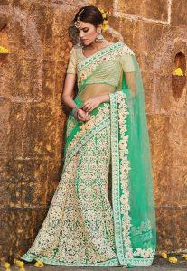 Lehenga Style Net Saree in Teal Green
