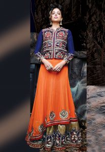 Orange and Dark Beige Net Double Layered Lehenga Choli with Dupatta