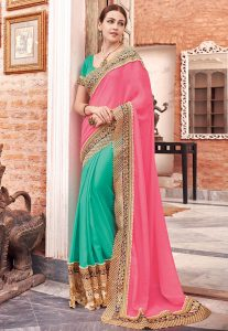 Half N Half Viscose Georgette Saree in Pink and Teal Green
