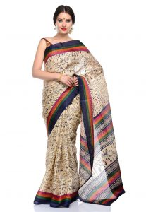 Bhagalpuri Silk Saree With Warli Prints