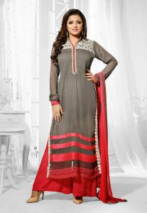 Straight Cut Georgette Suit In Grey