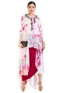 Tie N Dyed Georgette Tunic with Draped Skirt in White