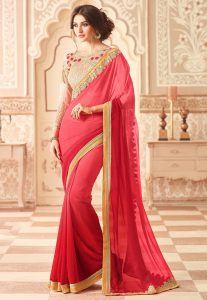 Embroidered Patch Border Georgette Saree in Ombre Red