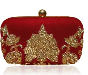 Hand Embroidered Art Silk Clutch Bag in Red