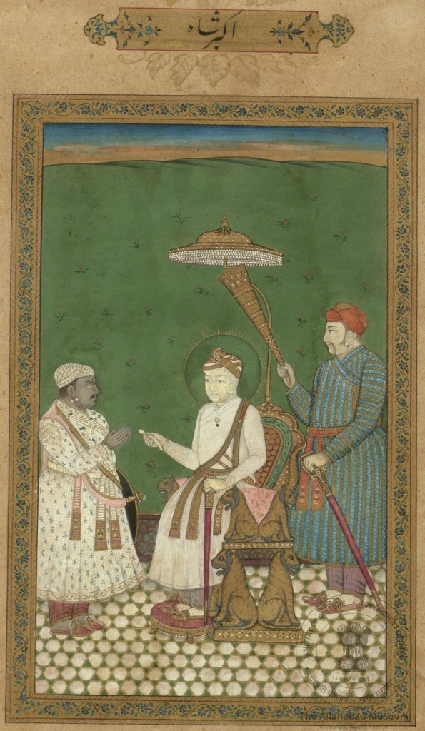 An old painting from the Mughal Era showing Bagalbandi style of those times. (Image: museumsofindia.gov.in)