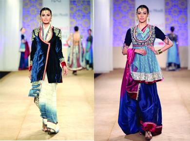 Models present Bagalbandi style dresses on the ramp. (Image: www.utsavpedia.com)