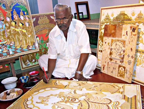 Tanjore Painting in the Process of Creation (Image: http://www.thehindu.com)