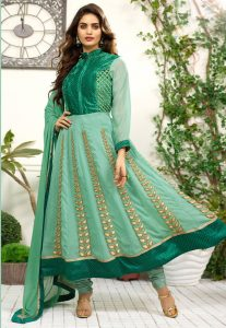 Embroidered Green Georgette Anarkali Suit in Green