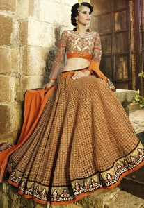 Embroidered Net Lehenga in Orange