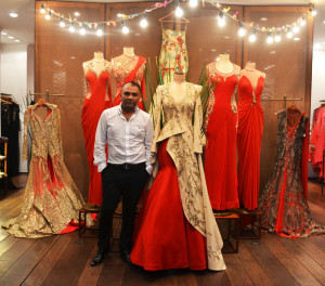 Gaurav Gupta along with his Creations for AW'14 (Image: http://www.thepurplewindow.com/)