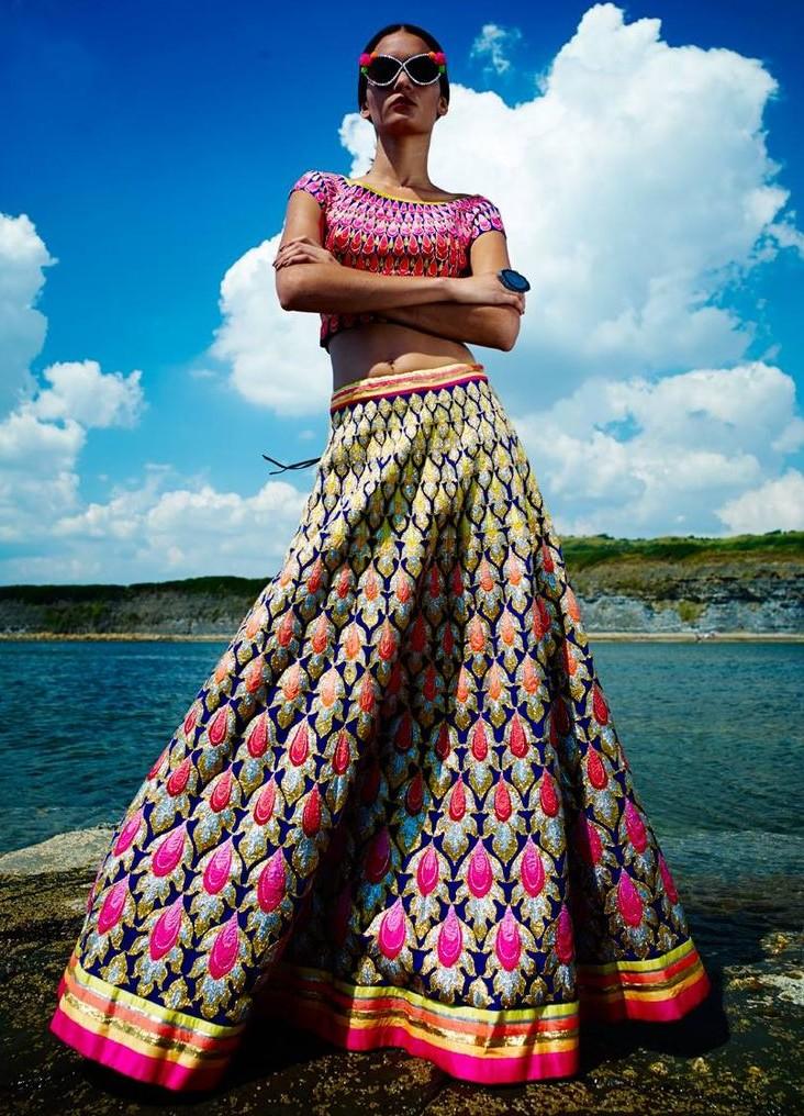 AJSK Renaissance 2014 Collection Colourful Embellished Bridal Lehenga (https://www.facebook.com)