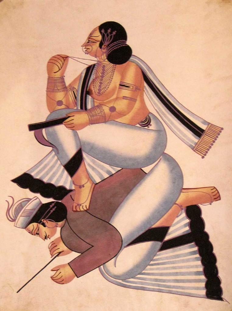 Kalighat Painting Inspired by Civil Life (Image: http://vintageindianclothing.tumblr.com/post/62709574578/the-kalighat-painters-belonged-to-the-patua)