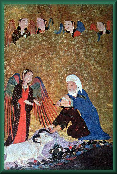 An old painting depicting the scene where God showed mercy and replaced Ibrahim's child with a lamb. (Image: Amaana.org)