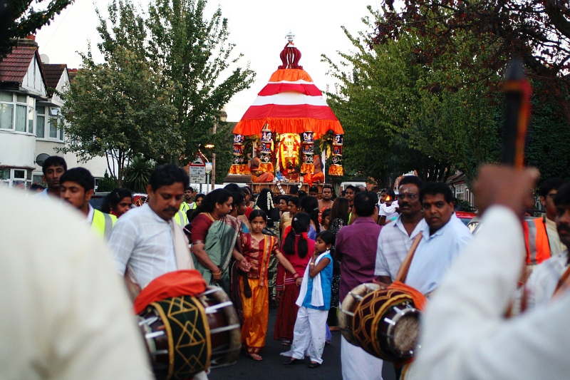 Hindu devotees participate in a Ganesh Chaturthi Procession in London. (Image: Tanya-n.com)