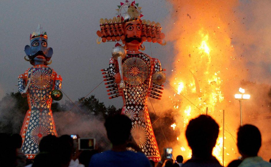 Effigy's of Ravana, Kumbhakaran and Meghnad burn during Dussehra celebrations in New Delhi. (Image: Firstpost.com)