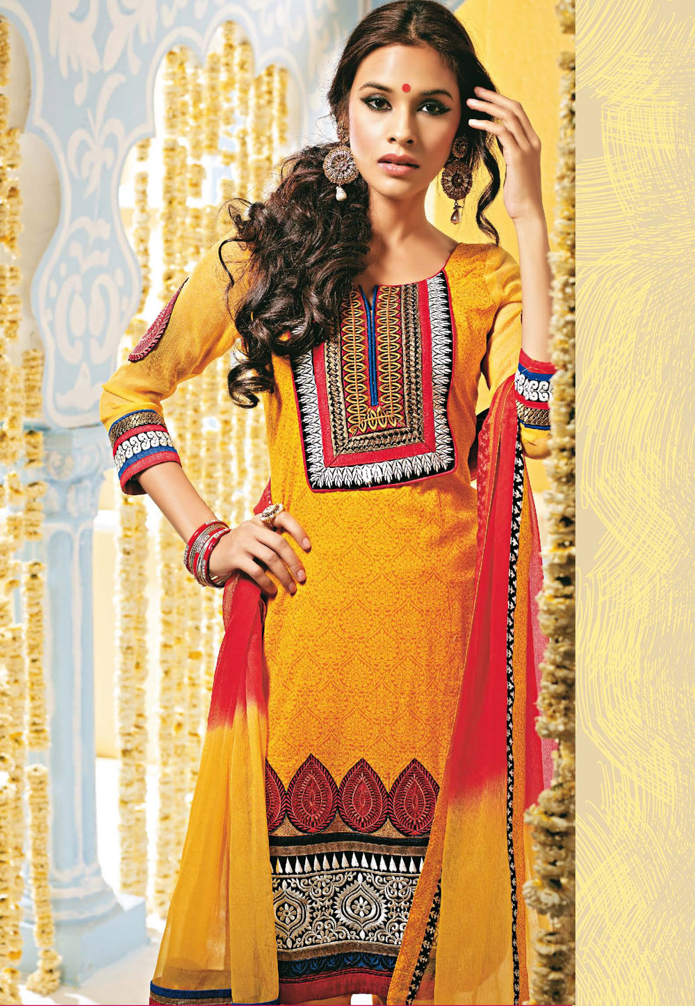 A Yellow Cotton Kameez. (Image: Utsavfashion.com)