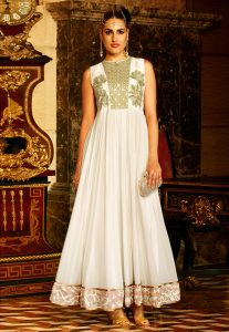 Embroidered Georgette Gown In Off White