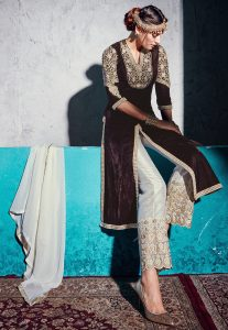 Embroidered Velvet Jacket Style Pakistani Suit in Brown