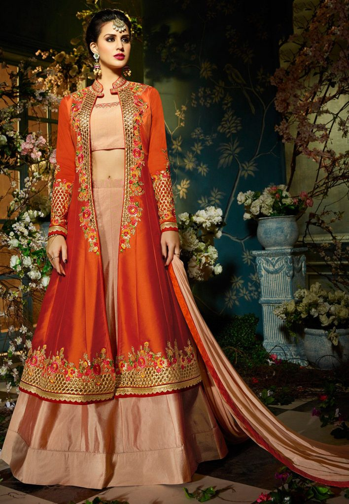 Jacket Style Lehenga With Zari Work