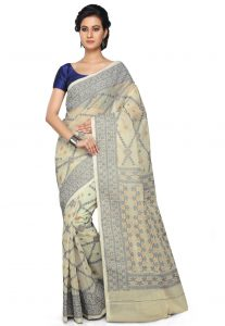 Bengal Handloom Cotton Saree in Off White