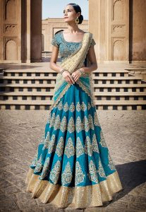 Embroidered Art Silk Circular Lehenga in Teal Blue